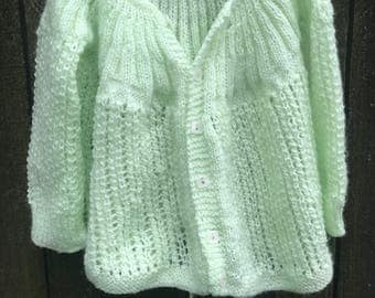Vintage baby Knitted Cardigan  Size 6 months - 18 months