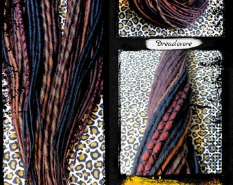 34 double Dreads of assorted colors (black, chocolate, walnut, mahogany and chestnut) 50 cm - Dreadlocks. Dreadovore