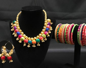 Indian Silk Thread Jewelry - Silk Thread Jewelry Set - Multicolored Jewelry Set - Jhumki Earrings - Indian Bangles - Kangan - Indian Bridal