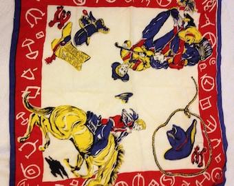 """Vintage 1940""""s Cowboy scarf."""