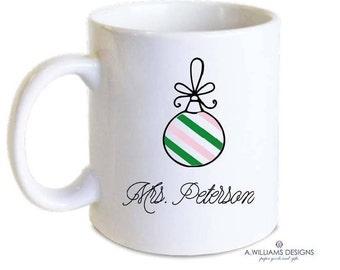Personalized Christmas mug/Adorable striped ornament/Can create custom colors/Sorority colors-School colors/Great Teachers Gift/11oz-15oz