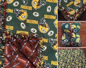 LARGE Green Bay Packers NFL Handmade Fleece Tie Blanket   55x65   Green Bay Packers Football Blanket   Green Bay Blanket Football Fan