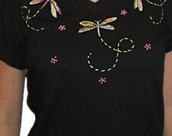 Embroidered Dragonfly Dragonflies Unique Custom Women's Cute Fun Glitter Cool Bling Bug V-neck T shirt Cindy's Handmade Shirts Boutique
