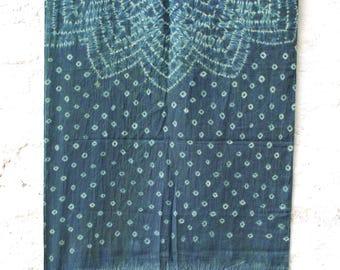 Shibori Indigo Mul Cotton Stole , Multiple Patterns , Natural dyes