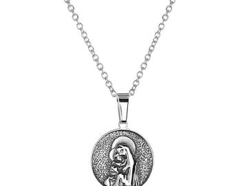 "Stainless Steel Virgin Mother Mary Round Religious Pendant, 18"" Chain Necklace"