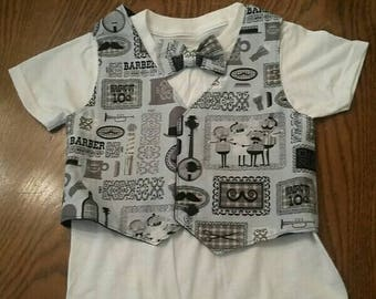 Infant and Toddlers Vest with bow tie and shirt, vintage barber vest, shirt, & bow tie, 3 piece vest outfit