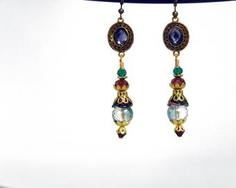 Dangle earrings with Amethyst, purple and blue/green glass beads. Czech bell flower