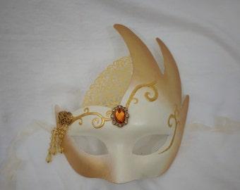 Unique Gold and Amber Masquerade Mask - Unique Party Mask, Unique Amber Mask, Gold Masquerade Mask, Amber Paper Mache Mask, Theater Mask,