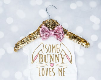 Baby Girls Some Bunny Loves Me Onesie, Easter Outfit, Easter Shirt, Toddler Easter Shirt, My First Easter, Bunny Shirt