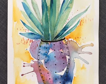 Succulent Original Water Color Illustration