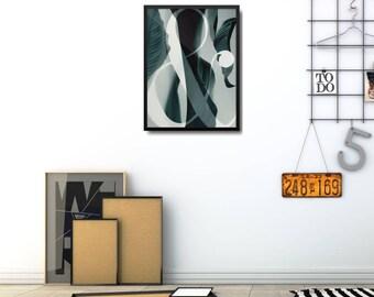 Modern Leaf Art Print, Modern Green Poster, Scandinavian Home Decor Ideas, Minimalist Photo Poster, Modern Leaves Poster, Scandi Photo Print
