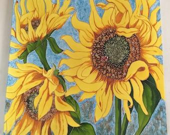 Sunshine Summer Sunflowers Canvas Painting|Summer Sunflower Decor, Sunflowers with LadyBug, Nature Inspired, Faux Vitrail Art, 24x24, Decor
