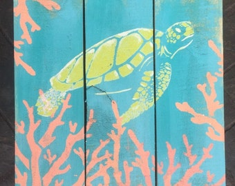 Sea Turtle Pallet Art, Reclaimed wood art, Repurposed wood art, Ocean art, Marine art, Green turtle wall art, Coastal Decor
