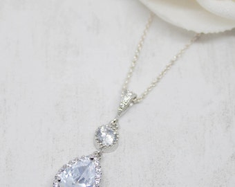 Necklace Silver Drop crystal cubic zirconia wedding Bridal Jewelry