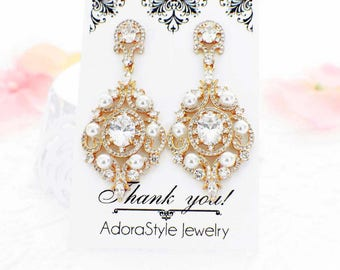 Rhinestone bridal earrings, Gold wedding earrings, pearl crystal chandelier earrings, Gold wedding accessories, gold wedding jewelry, E72