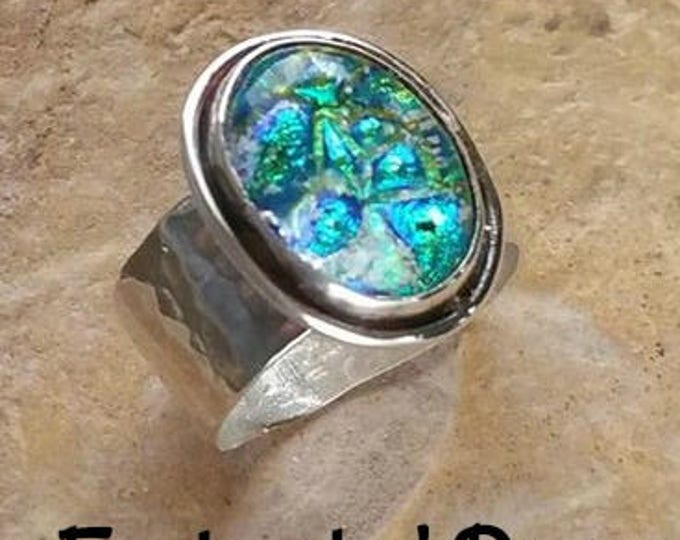 Aurora Enchanted Memorial Ring in Silver,Ashes in Glass, Pet Memorial, Cremation Jewelry