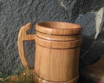 Gift for men, Oak Beer Tankard, Man Birthday Gift, Anniversary Gift For Him, Wood Beer Mug 25oz(0.75l), Tankard, Groomsmen Gift