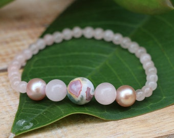 No. 38 Rose Quartz, Moss Agate and Fresh Water Pearl Stretch Bracelet