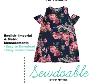 Cold Shoulder Dress PDF Pattern 18/24M- 7/8Y