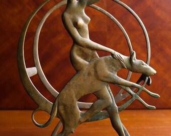 Diana the Huntress Art Deco Brass Magazine Rack/Holder – Marked RW