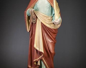 "St Godelieve Statue   Saint Godeleva Figure   Godelina Figurine   Antique Plaster   RARE Religious Sculpture   26"" Large"