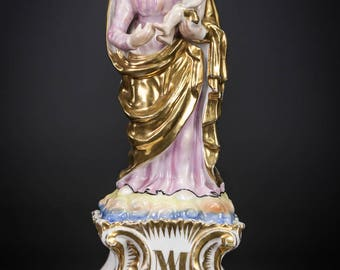 Antique Virgin Mary w Child Christ Vieux Paris Porcelain Statue Madonna Jesus
