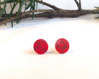 Flat Circle Studs, Red Stone Stud Earrings, Faux Turquoise, Howlite Stones, 12 mm, Thin, Stainless Steel Posts, Classic Red, Black, Simple