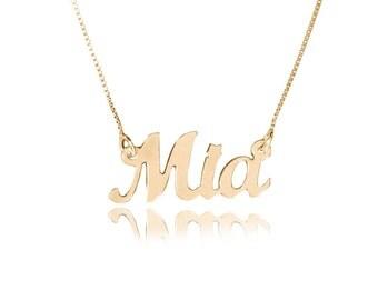 Gold nameplate etsy custom name necklace solid gold name necklace gold chain with name 14k gold nameplate necklace mia aloadofball Images