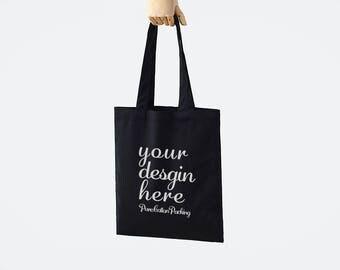 Custom black tote bag Personalized reusable grocery bag Custom black cotton canvas shopping bags custom logo printed bag packaging bag