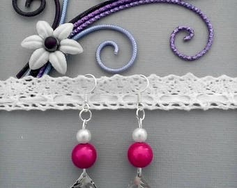 White and Fuchsia beads earrings