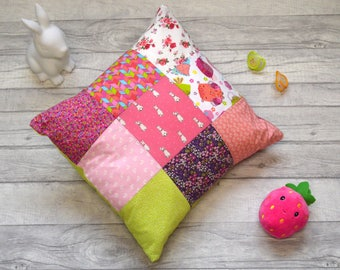 "Children's Peter Rabbit Patchwork Decorative Pillow With Envelope Fastening 16"" x 16"""