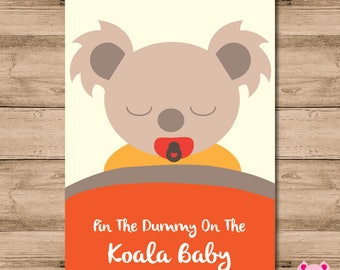 Pin The Dummy On The Koala Baby - Game For Baby Shower. A2 (420 x 594mm)