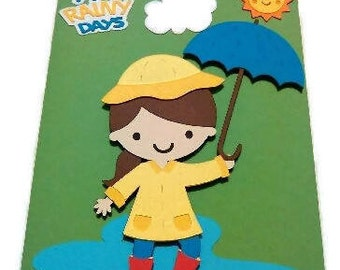 Rainy Day Card- Yellow Raincoat Card- Green Card-Yellow Rain Jacket Card- Kid Card- Girl Card- Rain Card- Blue Umbrella-Puddle-Sun-Cloud