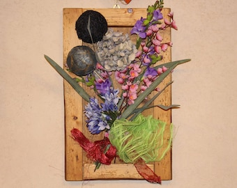 Decorative framed panel with floral composition