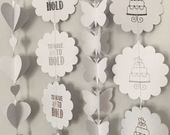 White Paper Garland | Mixed Sizes | Wedding Decor | Wedding Garland | white Banner | To Have And To Hold Garland, White Wedding, Engagement