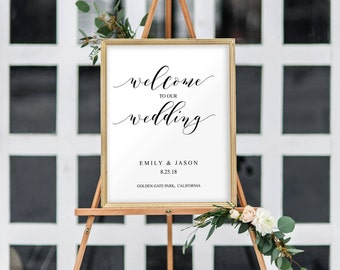 Welcome to Our Wedding Sign, Wedding Sign Template, Welcome Wedding Template, Welcome Sign, Wedding Signs, Wedding Templates, Elegant, 8010