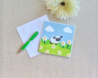 Baby sheep, greetings cards, sheep art, farm animals, all occasion cards, kids cards, cards for her, cards for him, card inspiration, sheep