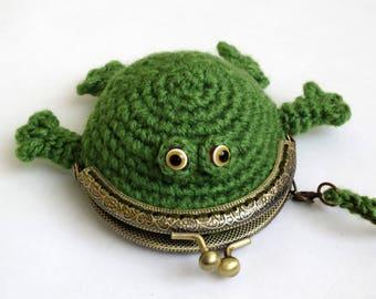 Frog coin purse, crochet coin purse, crochet bag, frog small purse, Frog crochet purse Ready To Ship