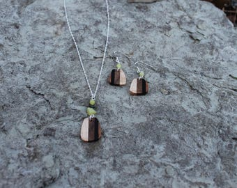 Wood Stone Necklace & Earring Set Jewelry Handmade Wooden Jewelry Minimalist Natural Wood Jewelry Set Unique Gift for Her Wooden Jewelry Set