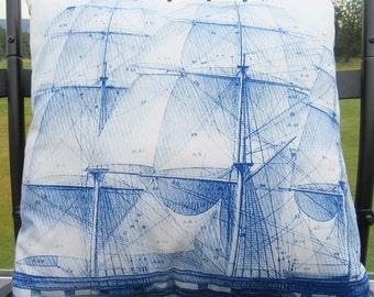 Custom Printed Pillow - Blue Sailboat