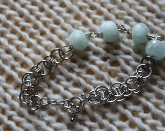 Chain Mail Bracelet With Aventurine