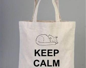 Daily Cotton Bag, Canvas Bag, Natural Bag, Party Bag, Tote Bag, Keep Calm and Sleep , Cat Bag