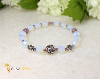 Moonstone AAA Quality Gemstone Beaded Handmade Stretch Bracelet with Flower Spacers. Moonstone Jewellery.