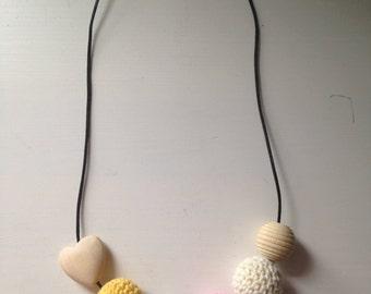 Wooden Crochet Teething, Babywearing and Feeding Necklace- Imogen