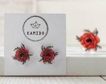 Earrings red peonies