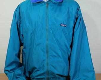 Men's Patagonia Fleece Jacket Coat Windbreaker - 90s Blue Vintage Retro Men's XL Made in USA