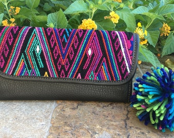 Vintage Mayan Textile and Leather Wallet