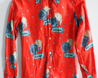 Rare Vintage 1970's Rose and Sans Souci/Carefree print button up Women's Size Small