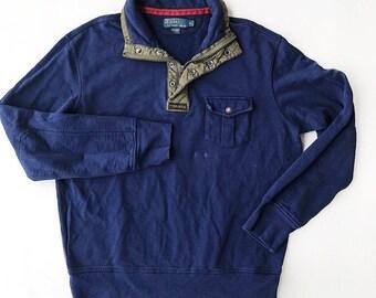RALPH LAUREN Quarter Zip Up Sweater 90s Vintage Men's XL