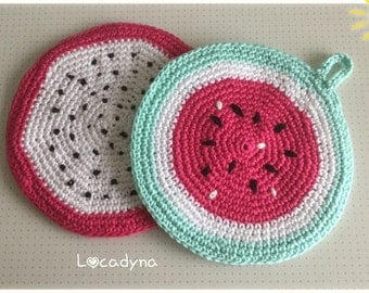 Watermelon kitchen pot holder or accessory Dragon Fruit Deco kitchen gift party hanging rack-Crochet Cotton-Hand Made Potholders